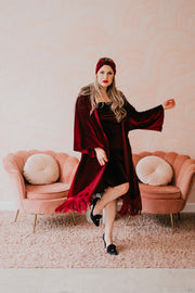 "byVINNIK Crushed Velvet Fringe Robe ""Oxblood"""