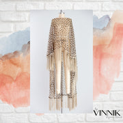 "by VINNIK Adagio Cape in ""Leopard Organza with Champagne Macrame Fringe"""