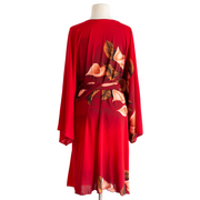 "Coby VINNIK: Teatro Robe ""Kristine"" Red Calla Lily Robe Long"