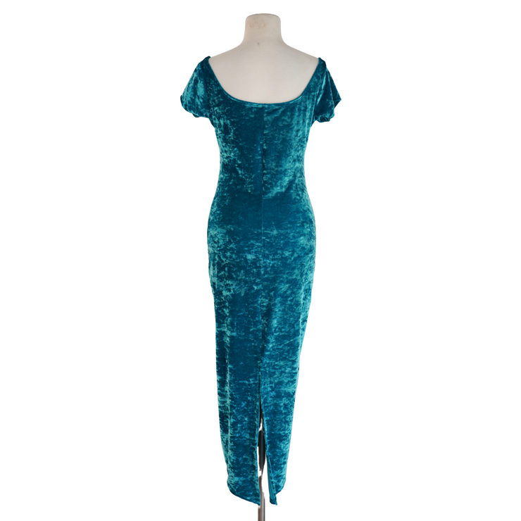 "by VINNIK ""THE DRESS"" Mermaid's Treasure Crushed Velvet Bardot Style Dress with Tux Tails"
