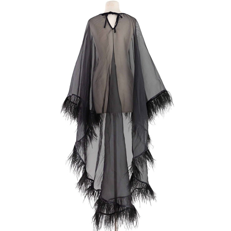 "by VINNIK Adagio Cape in ""Organza with Ostrich Trim"""