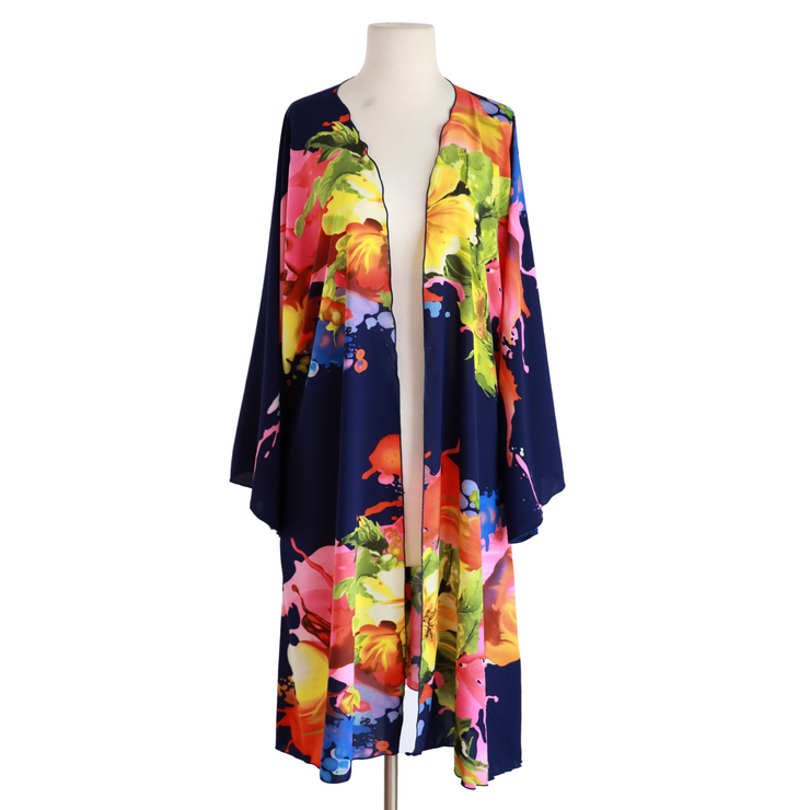 "byVINNIK Teatro Robe in ""Citro"" Navy Blue with Colorful Floral Explosion"
