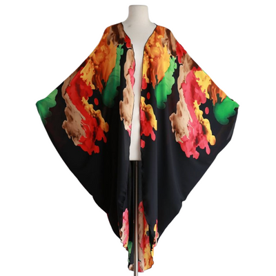 "byVINNIK Coloratura Cape in ""Nancy"" Black with Red, Green & Gold Explosion"