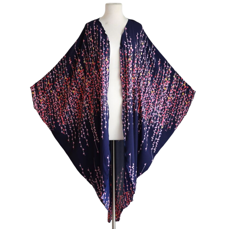 "byVINNIK Coloratura Cape in ""Meri"" Purple with Pink Cherry Blossoms"