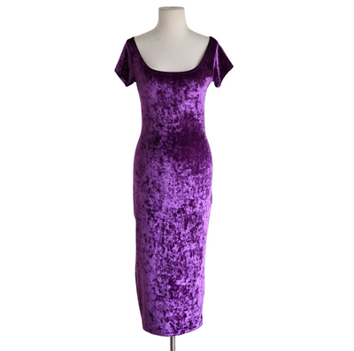 "by VINNIK ""THE DRESS"" Purple Crushed Velvet Bardot Style Dress with Tux Tails"