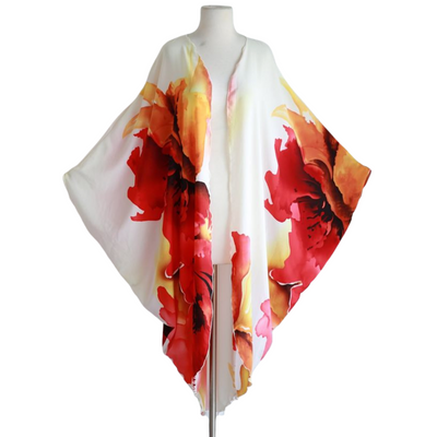 "by VINNIK Coloratura Cape in ""Monica"" White with Red and Gold Floral Explosion"