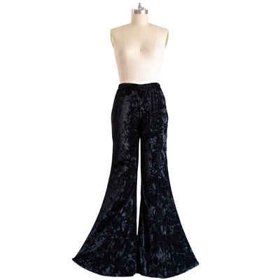 """Stevie"" Black Velvet Flared Bell Bottoms"