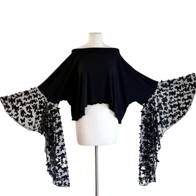 "byVINNIK Crescendo Crop in ""Fiore"" Black 3D Butterfly Top"