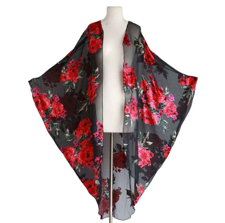 "by VINNIK Coloratura Cape in ""Chelsea"" Burnout Black with Red and Pink Flowers"