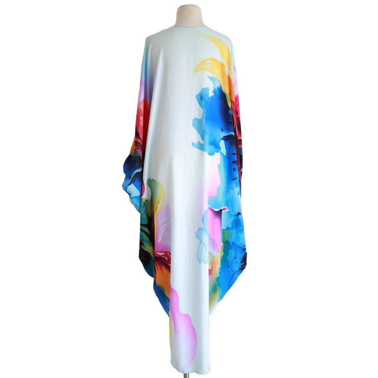 "by VINNIK Coloratura Cape in ""Lucy"" Blue with Colorful Explosion"