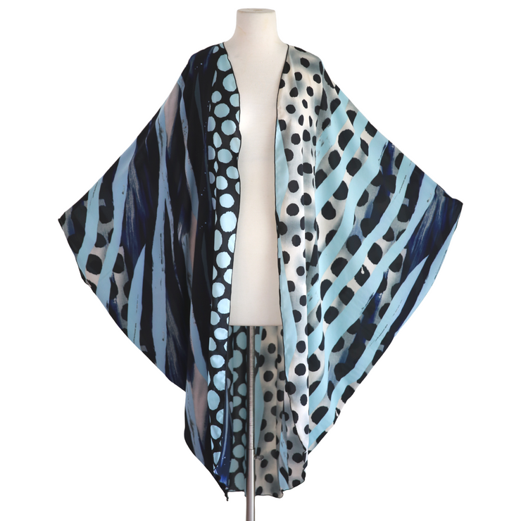 "by VINNIK Coloratura Cape in ""Rowley"" Blue Polka Dots & Stripes"