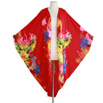"by VINNIK Coloratura Cape in ""Chelsey Hill"" Red Floral Explosion"