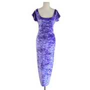 "by VINNIK ""THE DRESS"" Lavender Crushed Velvet Bardot Style Dress with Tux Tails"