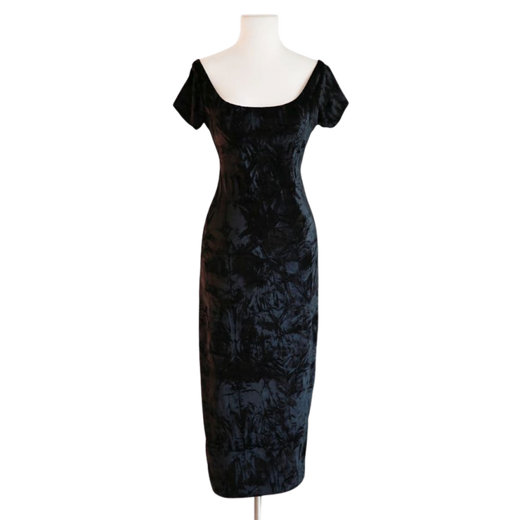 "by VINNIK ""THE DRESS"" Black Crushed Velvet Bardot Style Dress with Tux Tails"