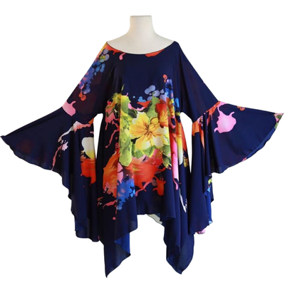 "by VINNIK Crescendo Tunic in ""Citro Blue with Colorful Floral Explosion"