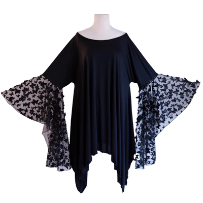 "byVINNIK Crescendo Tunic in ""Fiore"" Black 3D Butterfly Top"