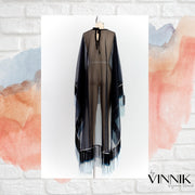 "by VINNIK Adagio Cape in ""Black Organza with Ombré Fringe"""
