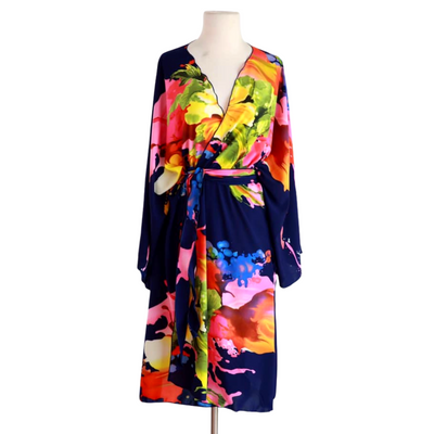 "by VINNIK Teatro Robe in ""Citro"" Navy Blue with Colorful Floral Explosion"