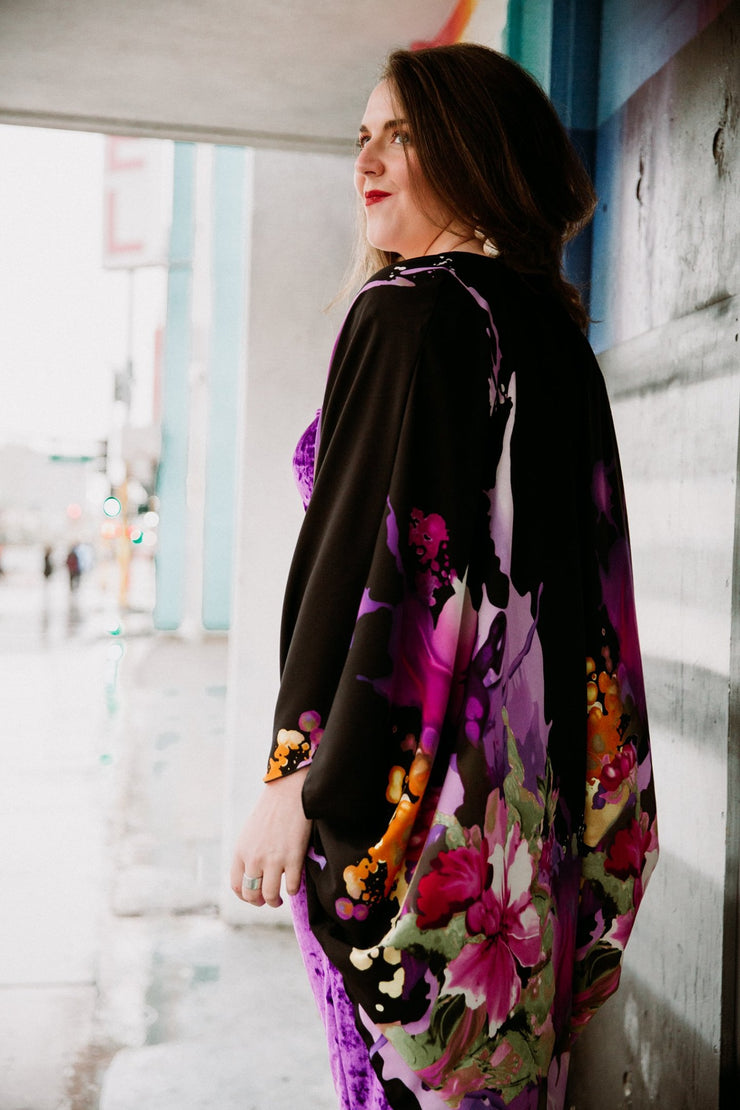 "by VINNIK Coloratura Cape in ""J'Nai"" Black with Purple Floral Explosion"