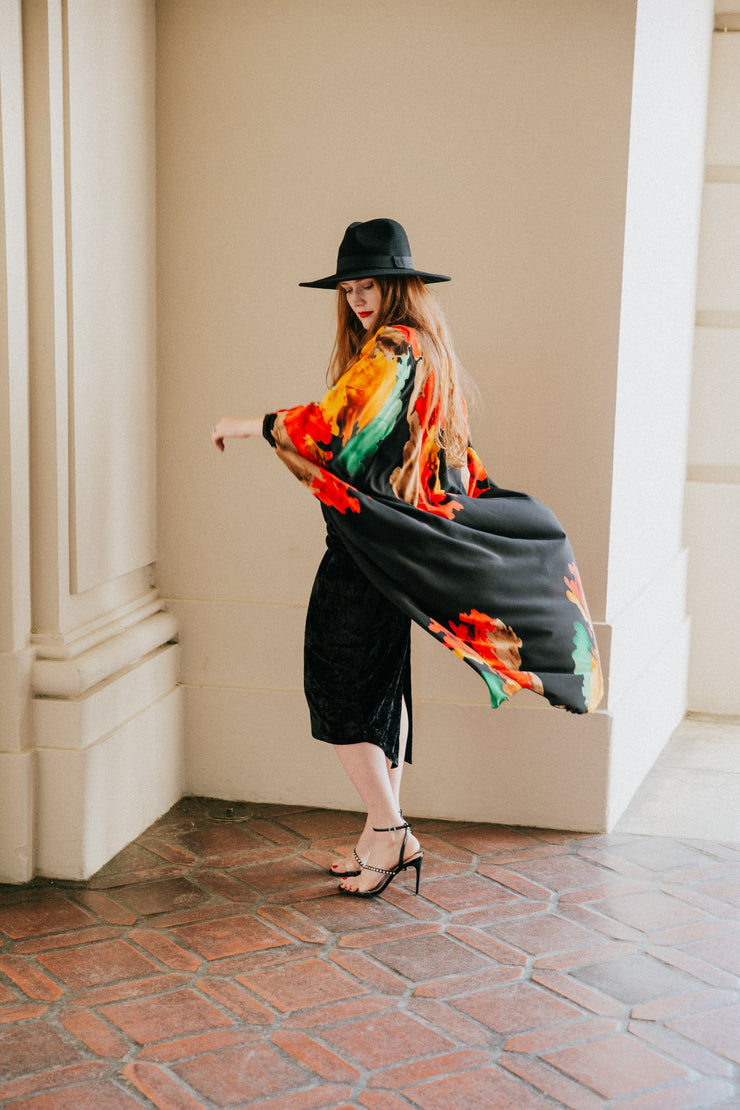 "by VINNIK Coloratura Cape in ""Nancy"" Black with Red, Green & Gold Explosion"