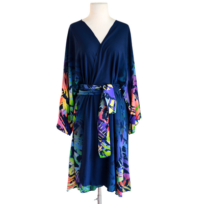 "by VINNIK Teatro Robe in ""Eve"" Navy Blue with Rainbow Accents"