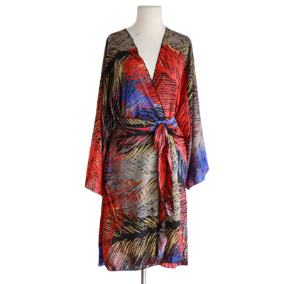 "by VINNIK Teatro Robe in ""Gabriella"" Black Print with Colorful Feathers"