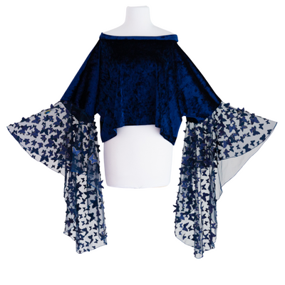 "byVINNIK Crescendo Crop in ""Fiore"" Blue Velvet 3D Butterfly Top"