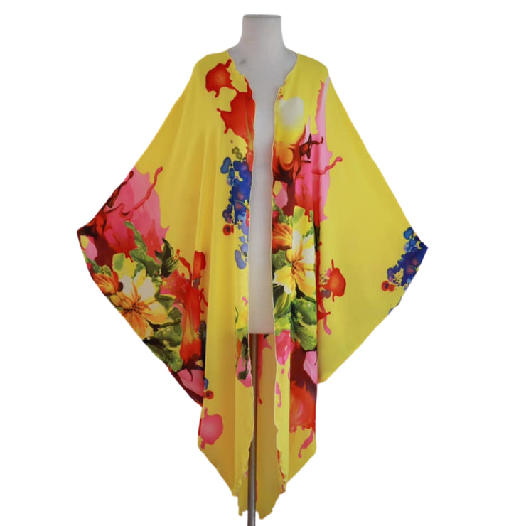 "by VINNIK Coloratura Cape in ""Jennifer"" Yellow with Colorful Floral Explosion"