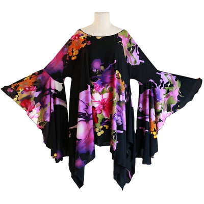 "byVINNIK Crescendo Tunic in ""J'Nai"" Black with Purple Floral Explosion"