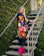 "byVINNIK Coloratura Cape in ""Citro"" Blue with Colorful Floral Explosion"