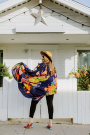 "by VINNIK Coloratura Cape in ""Citro"" Blue with Colorful Floral Explosion"