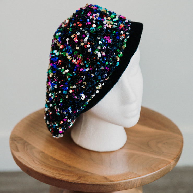 Rainbow Sequin Beret