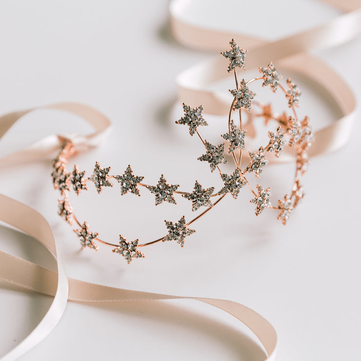 Heddy Lamarr Inspired Star Headpiece in Rose Gold