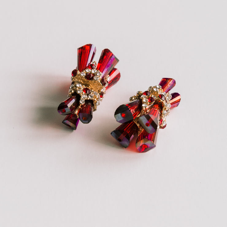 """Ruby Red Holographic"" Swarovski Crystal Double Sided Ear Jackets"