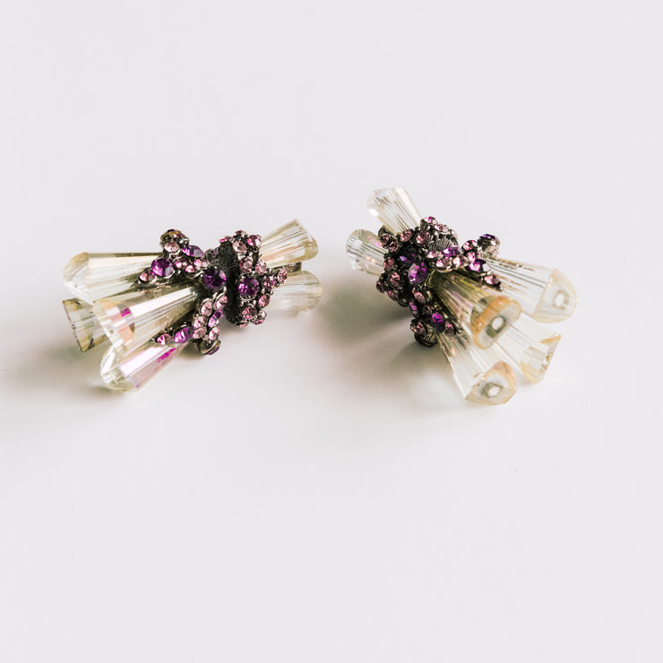 """Clear and Purple"" Swarovski Crystal Double Sided Ear Jackets"