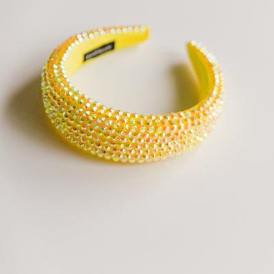 Banana Yellow Padded Rhinestone Headband