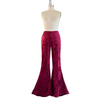"""Crimson"" Velvet Flared Bell Bottoms"