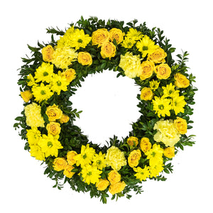 MEDIUM YELLOW WREATH 36cm