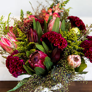 Seasonal Bright and Native vase of flowers delivered in Brisbane