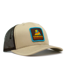 Load image into Gallery viewer, Sunset Dark Brown/Khaki Outdoor Patch Trucker Hat
