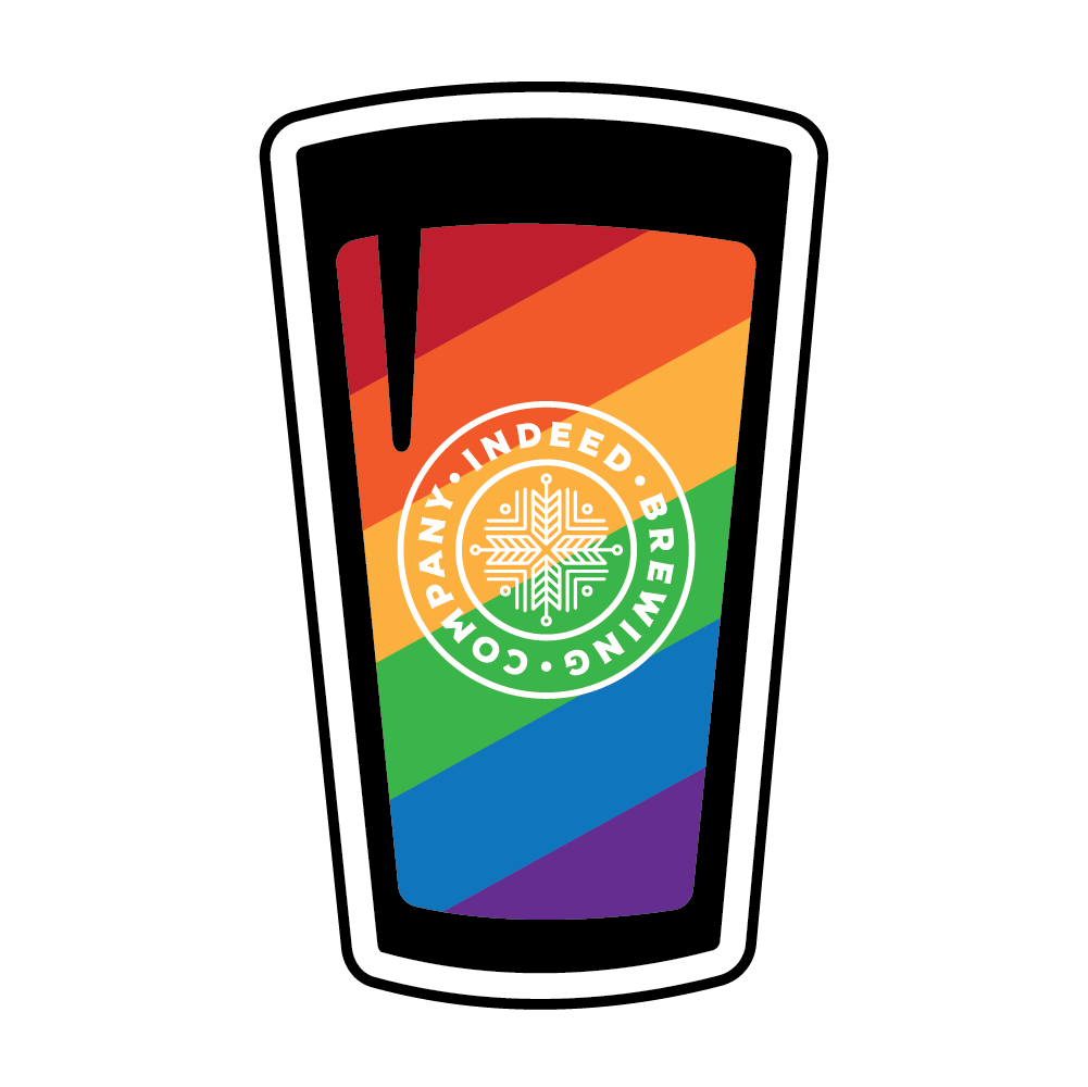 Indeed Pride Pint Sticker