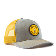 Load image into Gallery viewer, 5-Panel Outdoor Patch Trucker Hat - Grey/Amber