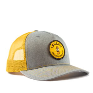 5-Panel Outdoor Patch Trucker Hat - Grey/Amber