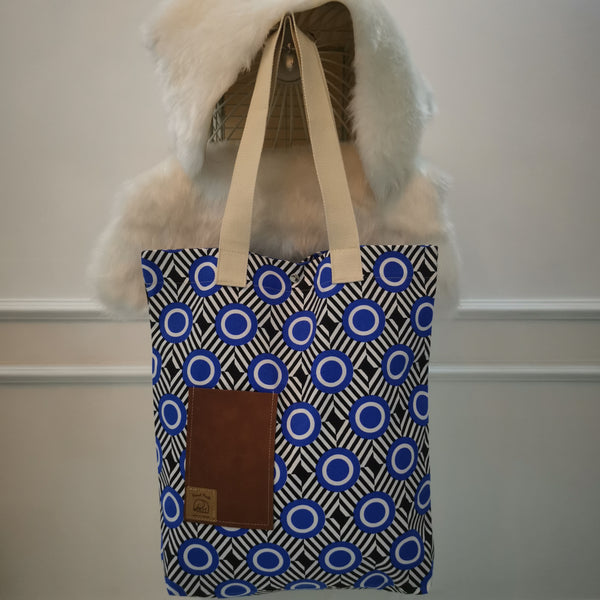 Blue Circle Handmade Tote Bag