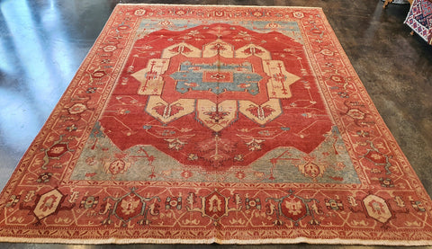 handmade Turkish serapi rug carpet red orange
