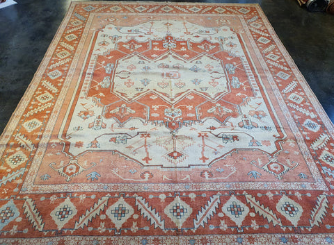 handmade turkish serapi rug, coral salmon beige colored