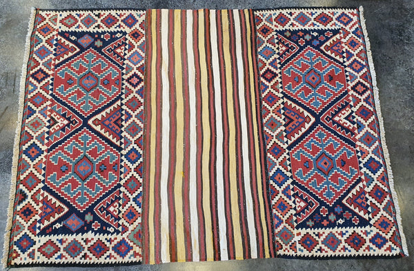 handmade colorful jewel toned kilim carpet