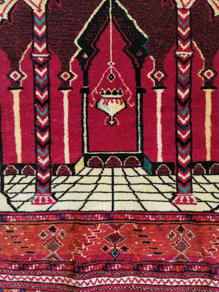 turkmen rug high quality handmade red pink