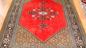 persian ghom rug red emblem