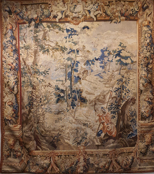 hanging antique tapestry